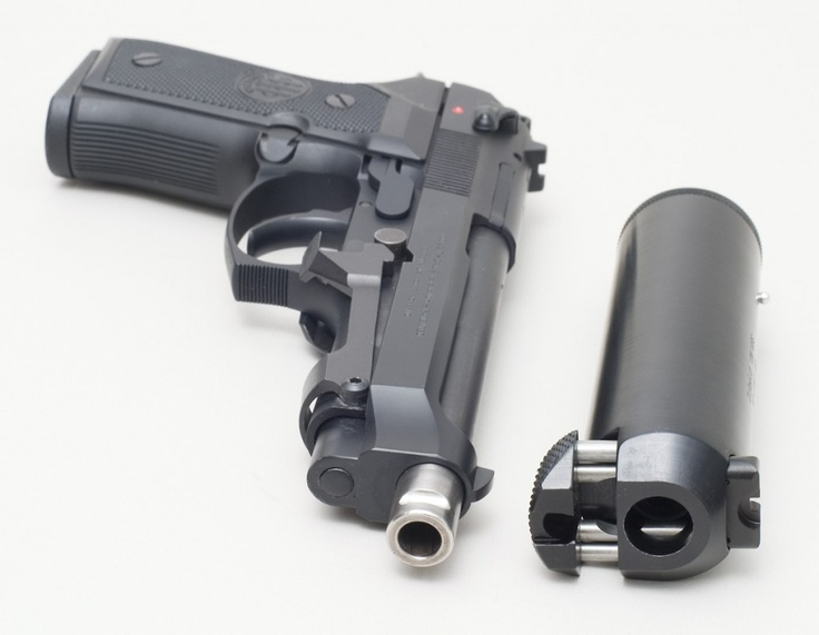 Beretta 92FS with its matching suppressor. - www.Rgrips.com Find our speedloader now! http://www.amazon.com/shops/raeind