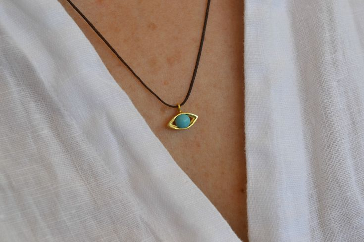 Evil Eye Gold Necklace Solid 18k Gold Necklace Protection Gold Necklace Delicate Turquoise Necklace Elegant Geometric Necklace Luck Gold by ViazisJewelry on Etsy