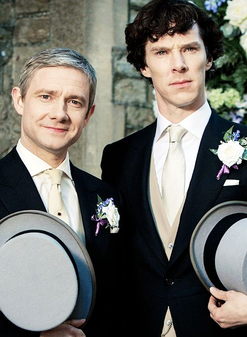 """Sherlock and John at the wedding in """"The Sign of Three,"""" S03E02"""