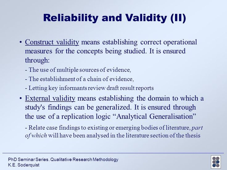 phd thesis on reliability Reliability addresses the overall consistency of a research study's measure if a research instrument, for example a survey or questionnaire, produces similar results under consistently applied.