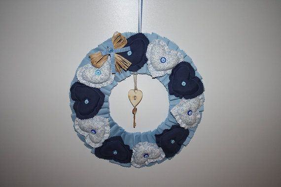 Wreath Encircled with Blue Hearts by ATOLYEVIVIAN on Etsy, $50.00