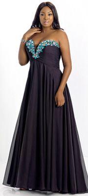 Too by Blush Plus Size 2014 Prom Dresses - Black Multi Beaded Strapless Plus Size Prom Dress