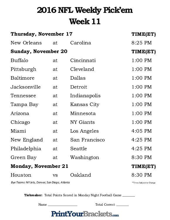 Printable Week 11 NFL Schedule Pick Em Sheets