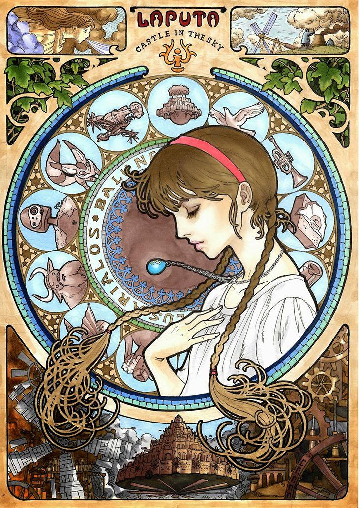 8 películas del Studio Ghibli estilo art nouveau | alaiskmurasaki