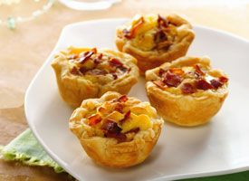 Mini Bacon-Cheese Cups:  Refrigerated pie crust and precooked bacon make quick work of mini quiches.