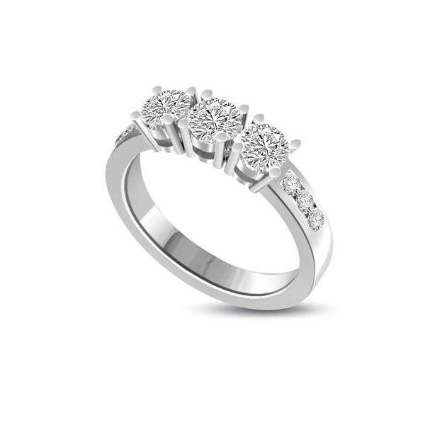 ANELLO TRILOGY CON DIAMANTI 18CT ORO BIANCO | Anello Trilogy con Diamanti Taglio Brillante. Il peso totale dei carati per questo anello e` disponibile da 0.45ct a 1.05ct, ciascun diamante varia da 0.10ct a 0.30ct e 6 diamanti sul gambo pesano 0.025ct ciascuno per un totale di 0.15ct . Tutti i diamanti sono taglio brillante montati a griffe. Tutti i diamanti sono disponibili in H, G ed F colore e in VS1 ed SI1 purezza. L`anello e` accompagnato dal certificato del diamante.