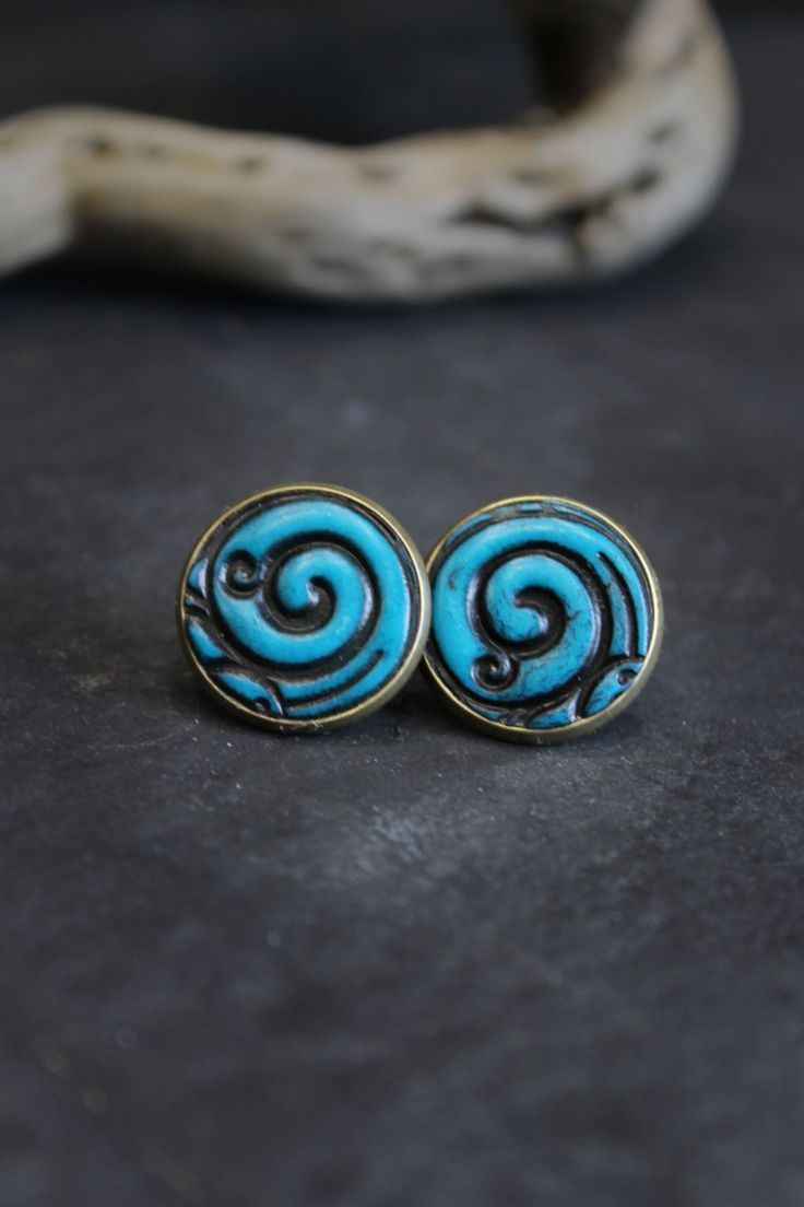 Stud earrings in turquoise polymer clay