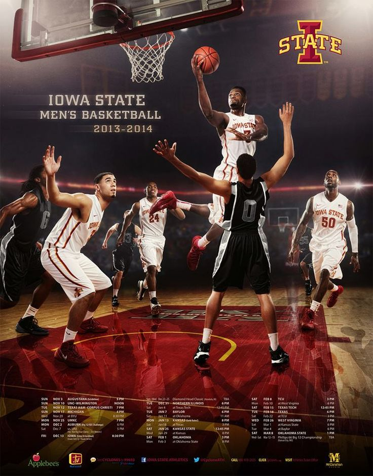 Iowa State Men's Basketball Team Poster. 2013-2014
