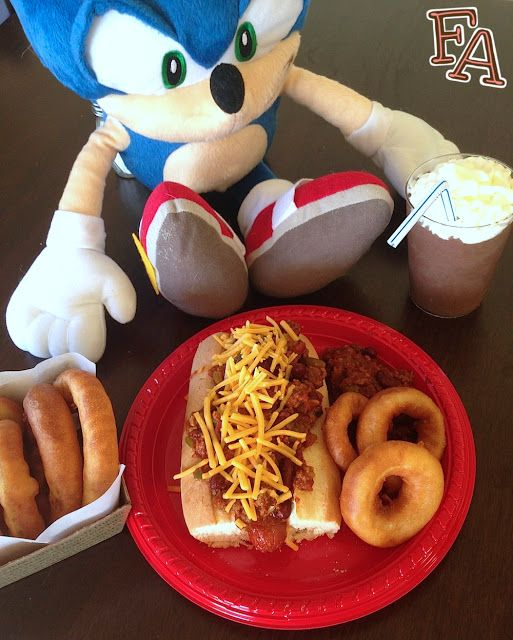 """Chili Dog Meal for """"Sonic the Hedgehog"""" - my daughter, Mackenzie would eat chili dogs when she was 6 because she knew it was Sonic's favorite meal :)"""