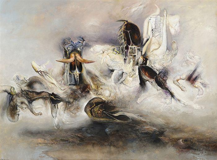 "James Gleeson ""A Session of the Secret Court"", 2000 oil on linen 131.5 x 176.5 cm  Charles Nodrum Gallery | Art Network Australia"
