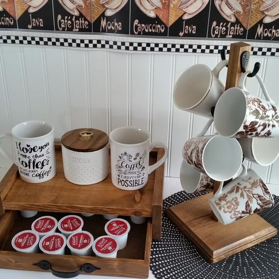 Rustic Mug Stand K Cup Storage Holder 6 Hook Farmhouse Coffee Mug Tree Coffee Bar Sturdy Stand And Condiment Holder Rustic Stain In 2020 Rustic Mugs Condiment Holder Mugs