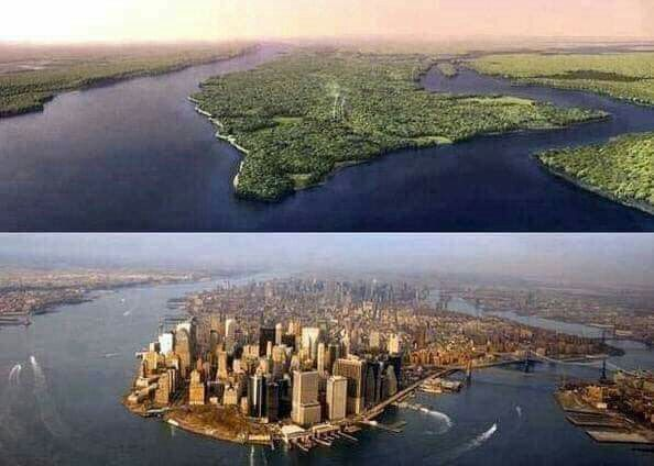 The Image Of New York City 500 Years Ago Compared To Today Map