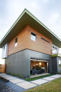 Modern exterior garage doors and garage on pinterest for Horizontal metal siding