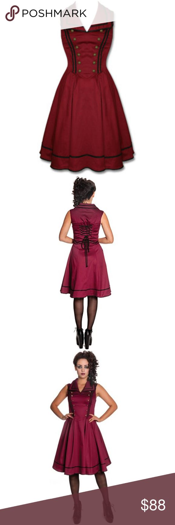 NEW Spin Doctor Nastasya Burgundy Steampunk Dress New With Tags Spin Doctor Nastasya Dress comes in Burgundy X-Small  The fabric on this steampunk dress is cotton sateen, with a little stretch. The bodice is shaped and trimmed with black braid and rope. Either side of the front are bronze tone buttons for effect. The back has a corset effect detail with black rope through metal eyelets.  X-SMALL Measurements are taken directly from the dress itself: *Bust-32 inches *Waist-28 inches Spin…