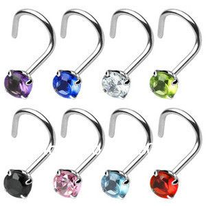 Aliexpress.com : Buy Body Jewelry Nose Piercing 18 g Prong Set 2mm ...