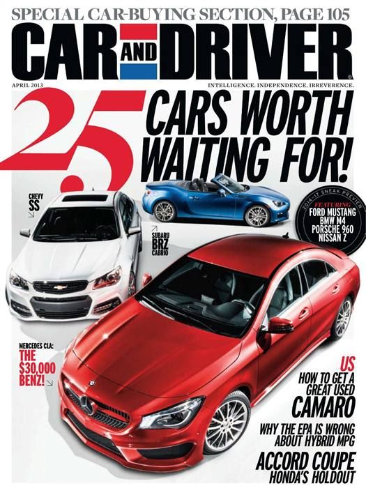 Car and Driver Magazine cover 2013 featuring 25 Cars