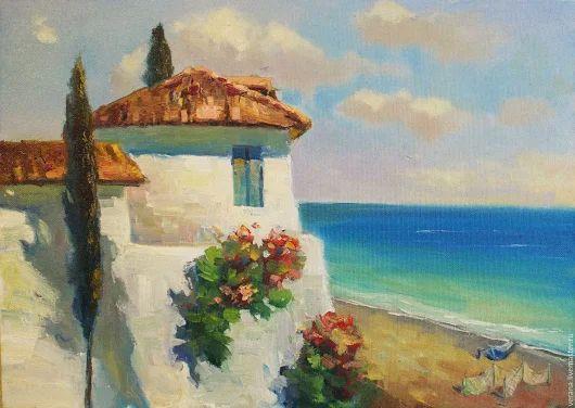 """Купить Картина маслом. Пейзаж """"Полдень"""" - голубой, картина маслом, картина италия"""