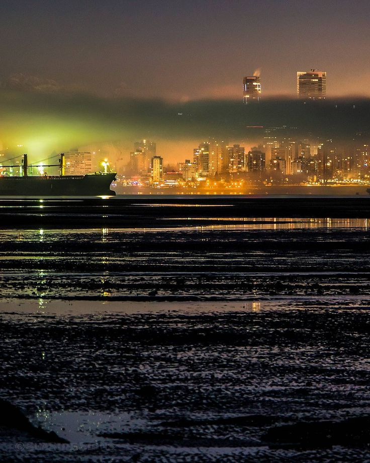 "Dead Low  . This morning's dreadfully low tide (0.7 ft) seemed to empty English Bay. Fog rolled in and was lit green by the lights on a container ship anchored in the bay. As I was shooting a ""four-legged"" ran in front of me on one of the sandbars (probably a coyote looking for a fish dinner ) Captured from the Spanish Banks in Vancouver British Columbia Canada  December 6 2017  . . . . . #Fogcouver #Vancouver @Vancouver_Canada #VeryVancouver #VisitaVancouver #CuriocityVan #VancityFeature…"