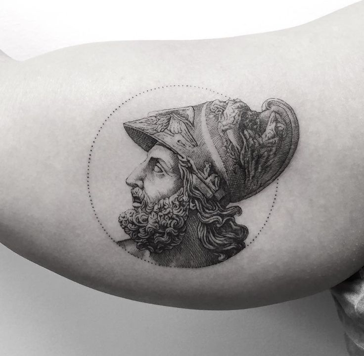Menelaus, the king of Mycenaean Sparta in Greek mythology. Tattoo by MR.K / Sanghyuk Ko.
