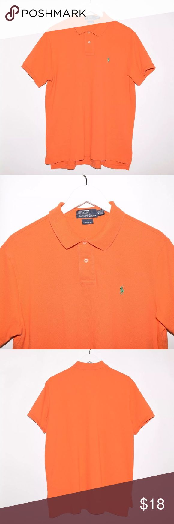 Polo Ralph Lauren Custom Fit Cotton Polo Shirt Brand: Polo Ralph Lauren Item name: Custom Fit Cotton Polo Shirt  		 Color: Orange / Green Condition: This is a pre-owned item. This item is in excellent condition with no stains, rips, holes, etc. Comes from a smoke free home. Size: XL Measurements:  Pit to Pit - 23 inches Shoulder to base -  Front: 27 inches Back: 29 inches Polo by Ralph Lauren Shirts Polos