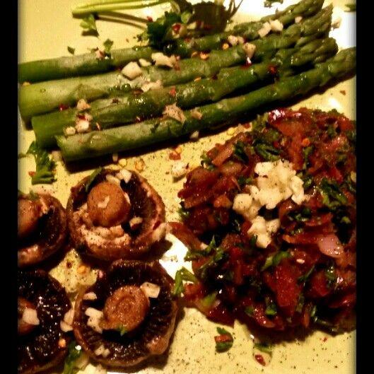 #onion #preserve #roasted #asparagus #mushrooms #vegan #recipe