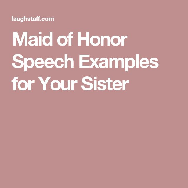 Sister of the Bride Speech Example