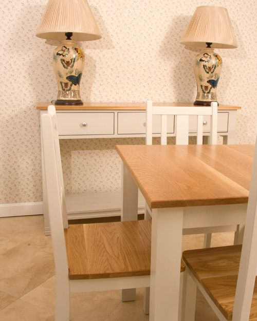 Cove Dining tables - 4 seater 800mm x 800mm - 6 seater 1500mm x 800mm. Other sizes available to order. Please enquire  Solid oak top - legs  clear pine available in a range of colours.