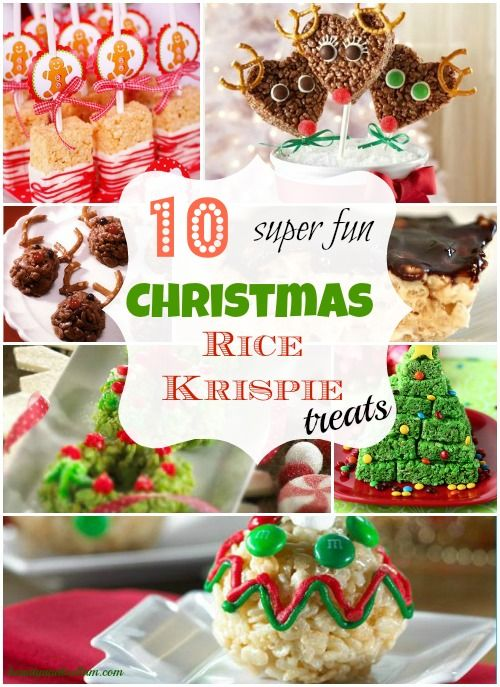 Enjoy inspiration from 10 fun and festive Christmas Rice Krispie Treat ideas.