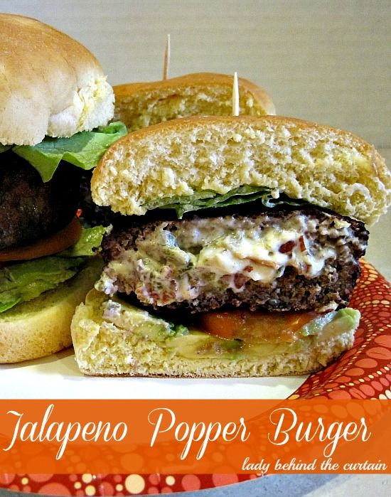 Lady Behind The Curtain - Jalapeno Popper Burger:  When I made this, I used canned jalapenos due to lack of time.  I think either way would be good.  Yumm!