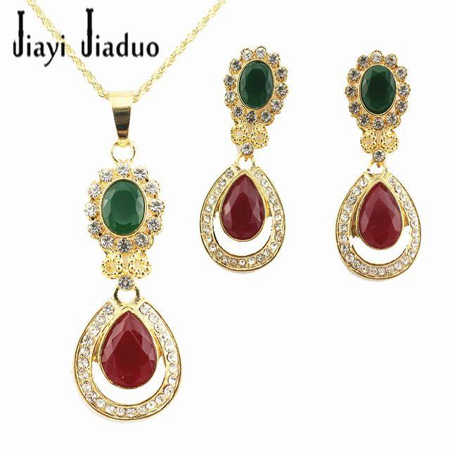 Atacado Moda Nupcial Colar Moda Red & Green pedra Banhado A Ouro Nupcial Do Partido da Dama de honra de Ouro Conjuntos de Jóias Traje