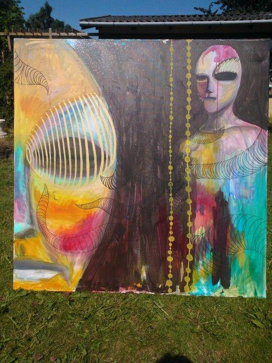 """aliens"" 120x120 cm acryllic and tusch on canvas"