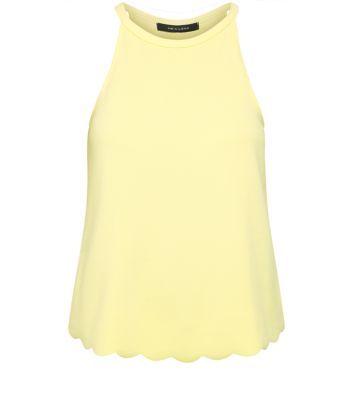 Yellow High Neck Scallop Hem Vest