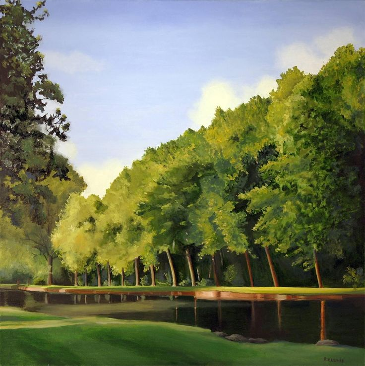 Trees on a French Estate | From a unique collection of landscape paintings at https://www.1stdibs.com/art/paintings/landscape-paintings/