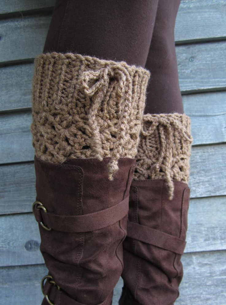 """THICK Cafe Latte Adjustable 7"""" Long Crocheted Boot Cuffs with Ties. $20.00, via Etsy."""