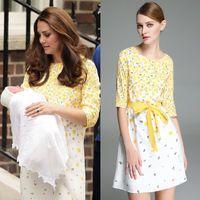 Платье дамы половина лето, принцесса кейт миддлтон желтый цветочный принт рукав