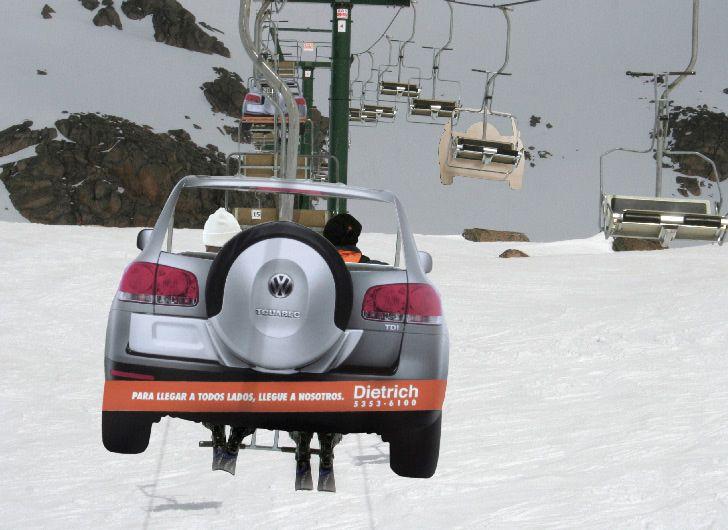 Reklamiranje firme Dietrich i proizvoda Touareg: kolone ski liftova na žičari kao kolone vozila na putu  Firma Dietrich je jedan od najvažnijih Volkswagen-ovih auto dilera sa sedištem u Buenos Aires-u, Argentina.   Volkswagen proizvodi automobile, sedište je u Wolfsburg-u, Nemačka, web sajt je http://www.vw.com.  Proizvod Volkswagen Touareg je Nemački auto srednje veličine, luksuzni SUV koji kombinuje karakteristike sportskog i putničkog vozila, duže je vozilo sa većim gepekom i velikim…