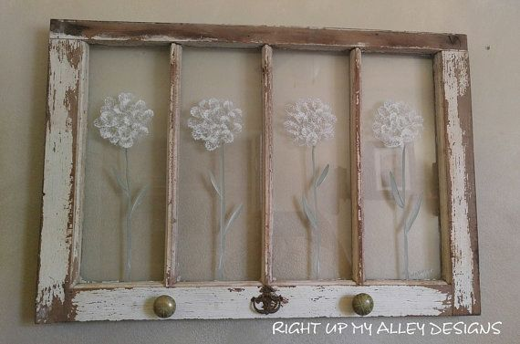 Old painted window, Window wall art, Vintage window, Shabby chic window,Old window,Painted window art,White flowers,4 pane window,window art