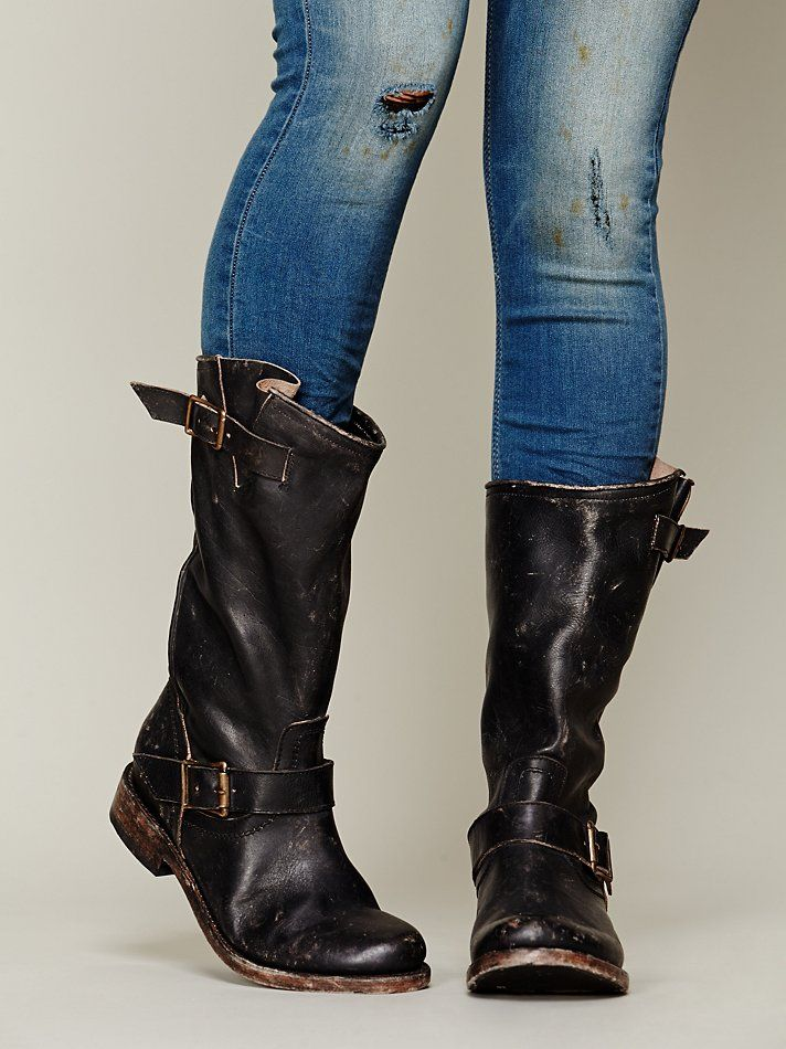 FREEBIRD by Steven Crosby Boot (idk why they're calling it the Prescott?) at Free People Clothing Boutique :: They're $199 ($288 retail), but only have size 6 left. If you want these, check out GILT.COM now for the Freebird by Steven sale...only $179, $6 shipping & no tax! Just like the Frye Veronica Slouch, but a little shorter & distressed (I like these better than the Frye & they're half the price).