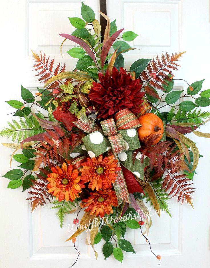 Fall Door Hanger, Fall Door Wreath, Door Hanger, Front Door Wreath, Front Door Decor, Front Door Decoration, Door Swag, Floral Swag by WruffleWreathsbyLana on Etsy