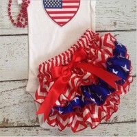Wish | 2016 Baby Fashion Girls Patriots Jersey Satin Ruffle Bloomers Infant Newborn Summer Shorts Diaper Cover for 4th of July
