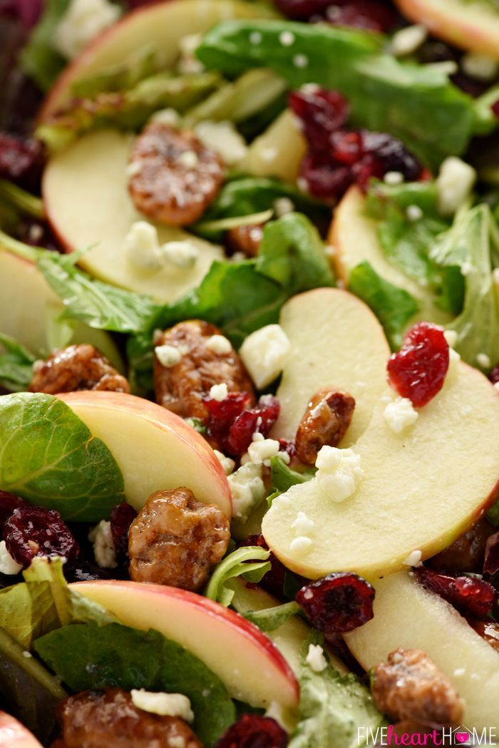 Holiday Honeycrisp Salad ~ full of flavor and texture, this gorgeous salad is loaded with fresh apple slices, crunchy candied pecans, chewy dried cranberries, and salty blue cheese, all dressed with a tangy-sweet apple cider vinaigrette atop a bed of your favorite salad greens...so vibrant and tasty you'll want to make it an annual addition to your Thanksgiving or Christmas menu!   http://FiveHeartHome.com