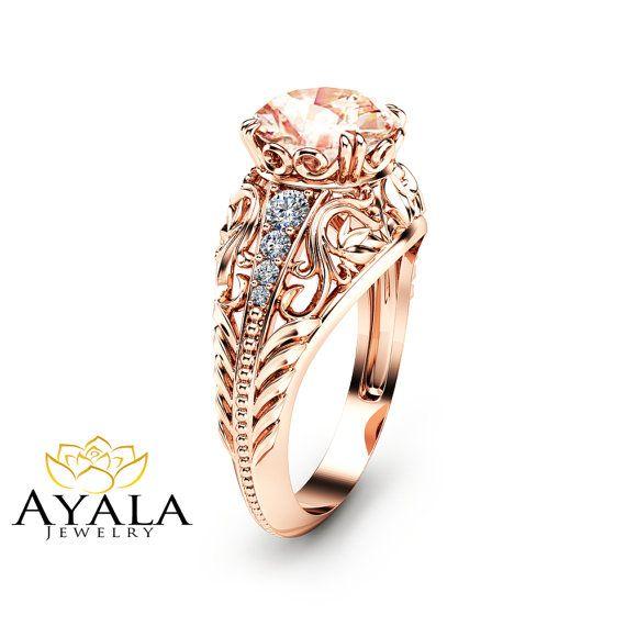 14K Rose Gold Morganite Engagement Ring Filigree by AyalaDiamonds