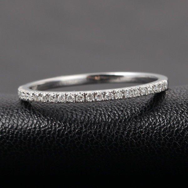 $239: French V Pave Diamond Wedding Band Half Eternity Anniversary Ring 14K White Gold