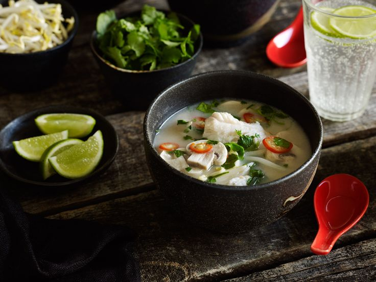 Recipe by sharedkitchen.co.nz  Serves 4-6  Chilli, ginger and coriander shine through this fish soup enriched with coconut and cashew butter. To make it more substantial add a scoop of cooked rice to each bowl before topping up with hot soup.   	500ml fish stock  	350ml water  	3