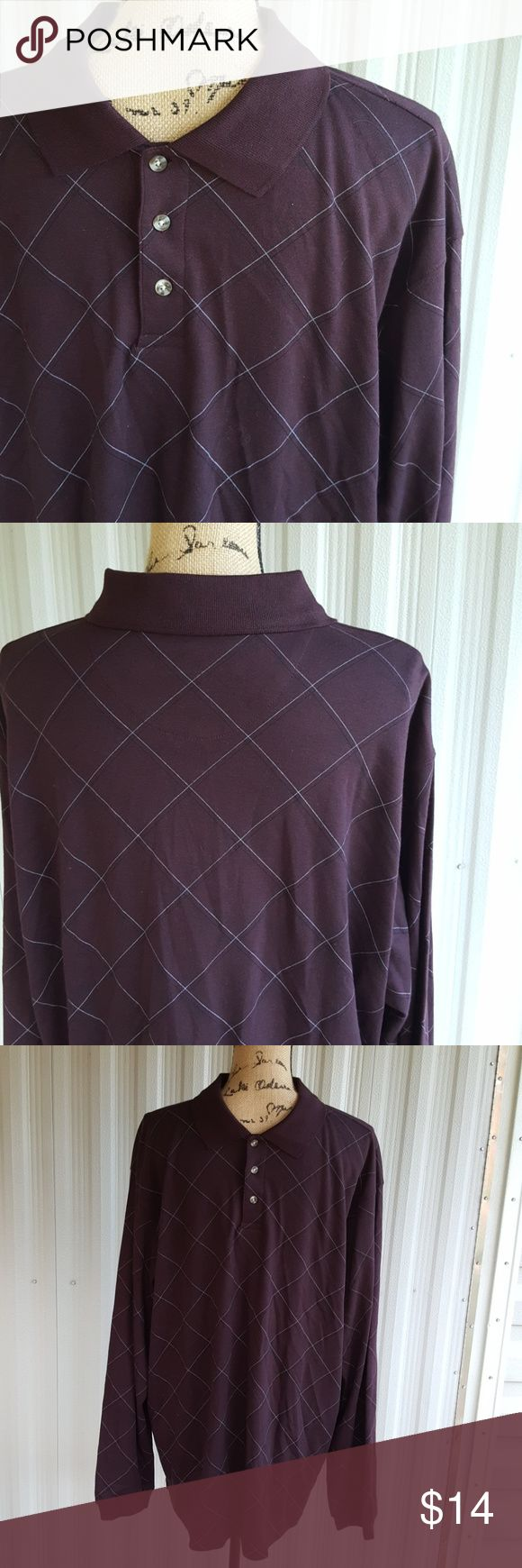 Xl nwot plum saddlebred long sleeve polo New without tags excellent condition plum-colored Saddlebred polo shirt. Deep plum color goes good with any skin town. Nice soft material. saddlebred Shirts Polos