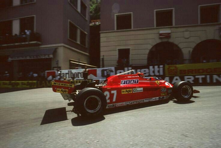 Gilles Villeneuve victorious at the 1981 Monaco Grand Prix. At the Rascasse