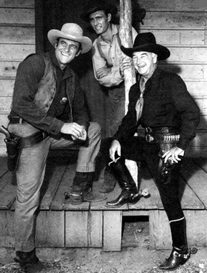 """William Boyd as Hopalong Cassidy visits the """"Gunsmoke"""" set with James Arness and Dennis Weaver. (Thanx to Jerry Whittington.)"""