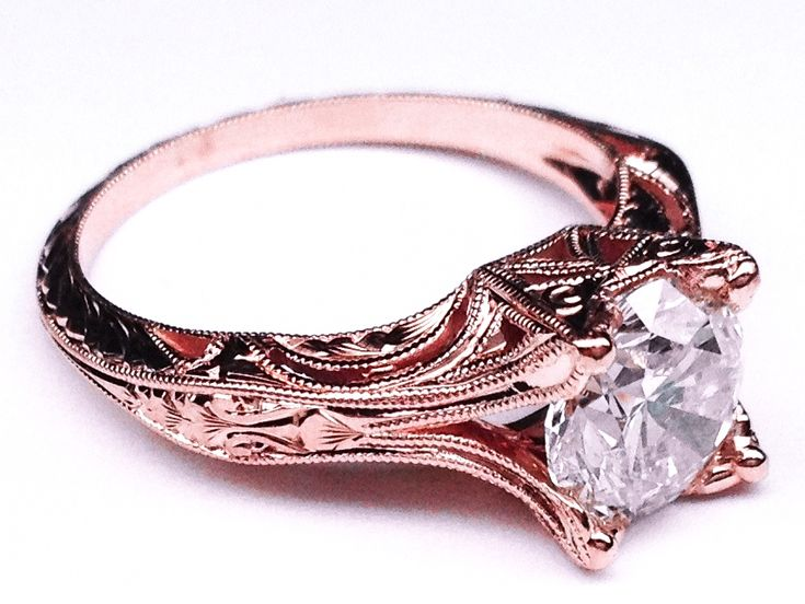 Vintage Petite Hand Engraved Rose Gold Filigree Engagement Ring - ES848