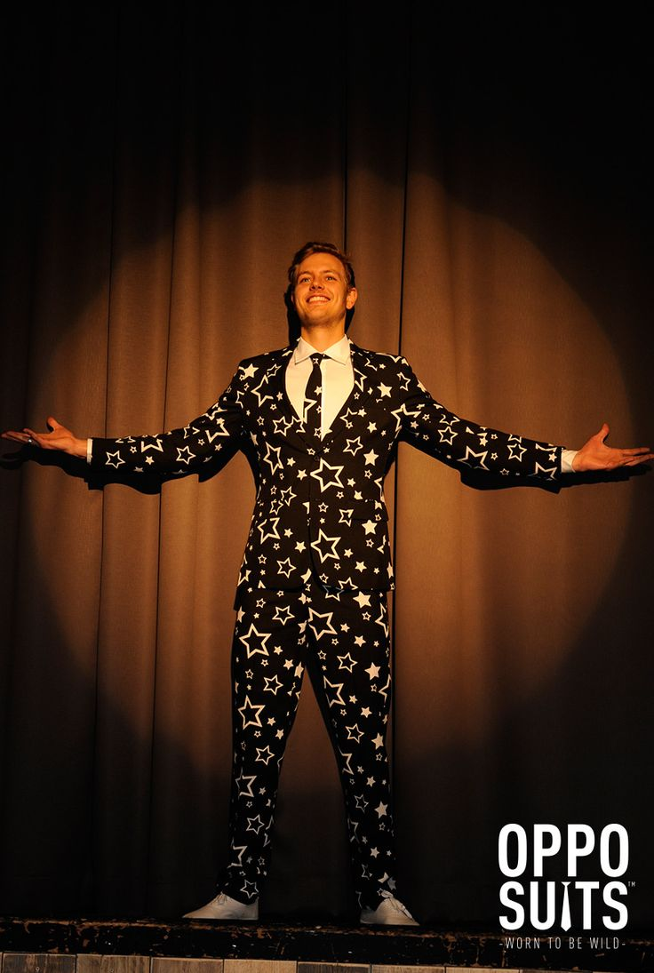 The Starring Suit. A must if you want to be a star on stage! Made of 100% polyester. Sizing is the same as if you were ordering a suit for work. Comes complete with Suit Jacket, Pants and a Tie! Comes