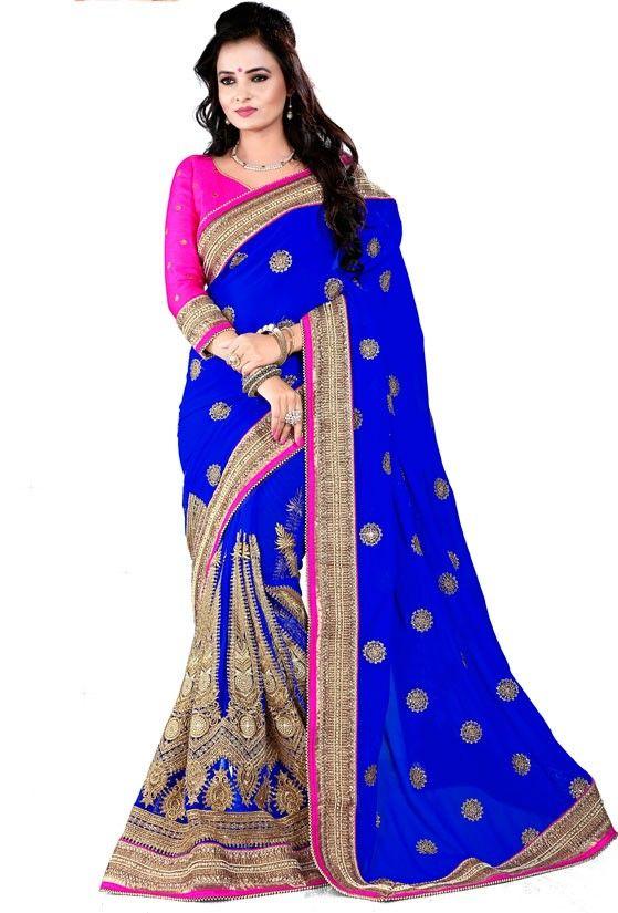 Attractive Royal Blue Saree
